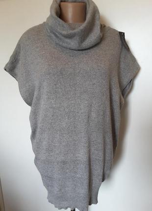 Серая меланжевая туника-свитер без рукавов