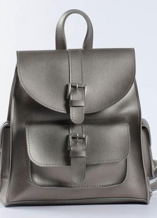 Серебристый рюкзак из экокожи