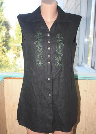 Скидка! стильная льняная рубашка блуза без рукавов с вышивкой винтаж австрия 100% лён