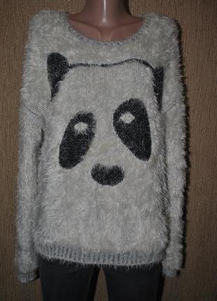 Свитер плюшевый травка беж панда