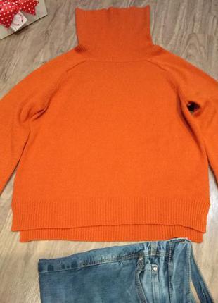"""Яркий свитер """"под горло"""" кирпичного цвета s-m см замеры"""