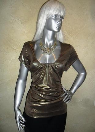 Нарядная золотая стрейчевая новогодняя футболка m&s 4xl 20 батал