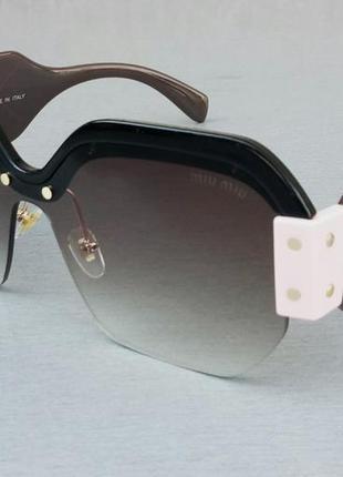 Miu miu очки женские солнцезащитные большие модные коричневые с розовыми вставками градиент
