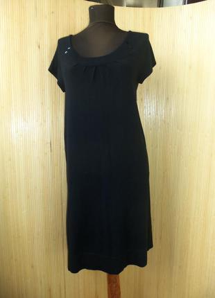 Чёрное тёплое трикотажное платье туника под грудь