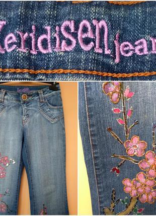 Стильные  джинсы с вышивкой(бисер) keridisen(р. 29) джинси з вишивкою