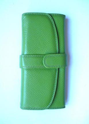 Классический салатовый кошелек, 100% натуральная кожа, доставка бесплатно.