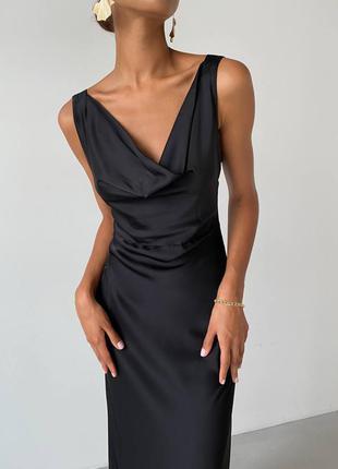 Вечернее женское шелковое черное платье в пол