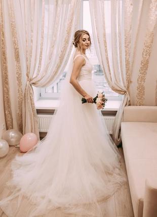 Свадебное платье со съемным шлейфом!