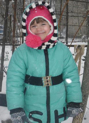 Красивая демикурточка на синтепоне бирюзового цвета с шарфиком на модницу 5- 6 лет