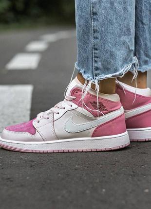 Кроссовки женские найк nike air jordan retro 1 pink rose