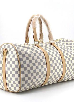Дорожная сумка кожзам белая серая бежевая клетка в двух размерах 41412 41414