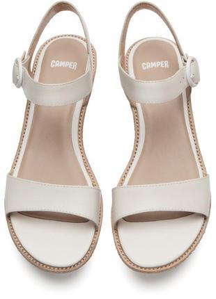 Женские кожаные босоножки сamper damas 40-40.5-41 кожа сандалии белые на танкетке