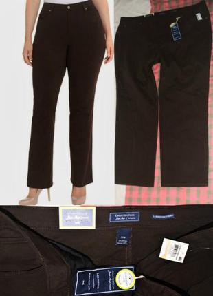 """Коричневые джинсы батал 24w """"straight leg"""" длина 32 1/2 на 60-62, классическая посадка"""
