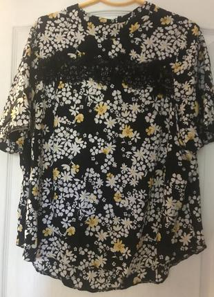 Натуральная блуза в яркий принт
