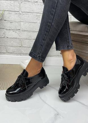 Броги туфли натуральная лаковая кожа
