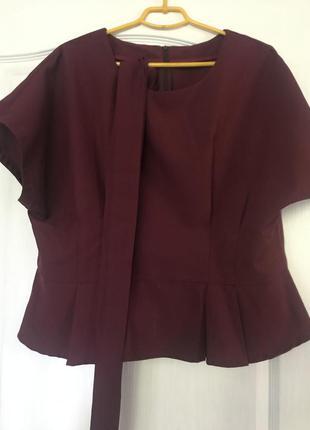 Блуза, топ вишнёвого цвета с пояском