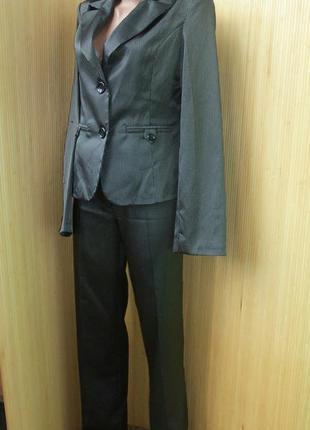 Костюм брюки и пиджак хлопок с блеском в полоску в деловом стиле