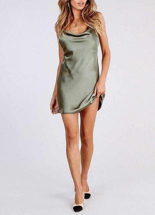 Сатиновое мини платье zara