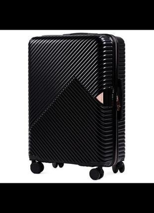 Великий чемодан wings dove wn01 чорний