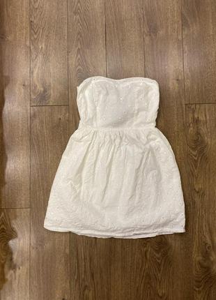 Белое платье, сарафан  из прошвы