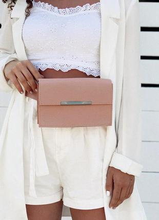 Женская сумка на пояс пудровая сумка поясная сумка трансформер поясной клатч на пояс