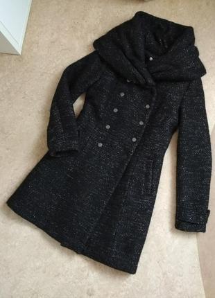 Пальто шерсть с воротником хомутом двубортное promod
