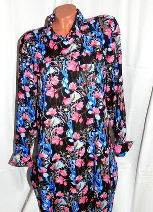 Шикарное платье - рубашка в цветочный принт - xxl - xl