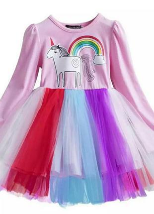 Платье с единорогом розовое