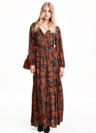 Платье длини миди макси с длинным рукавом в цветочный принт