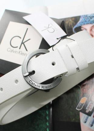 Женский кожаный ремень пряжка серебро хром белый