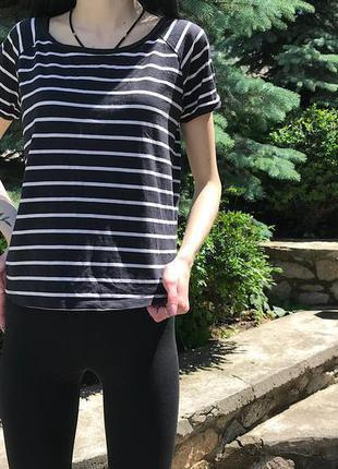 Женская полосатая футболка topshop ( топшоп с-мрр идеал оригинал черно-белая)