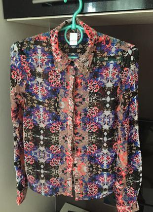 Блуза vila, цветочный принт, размер хс-с.