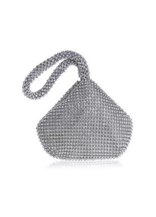 Сумка клатч мешочек блестящая в камнях