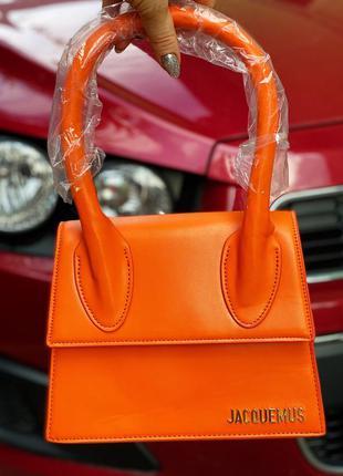Сумочка jacquemus сумка тренд! кросс боди брендовая оранжевая помаранчева портфель через плече
