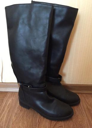 Срочно! сапоги ботинки высокие черные теплые зимние стильные