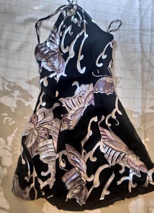 Шелковое черное платье с бабочками, 100% натуральный шелк