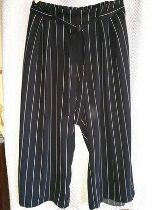 Женские кюлоты, повседневные, пляжные свободные черные в полоску штаны, брюки .