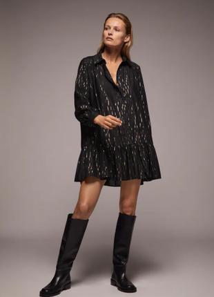 Стильное оверсайз платье zara,платье рубашка на пуговицах,черное платье с люрексом