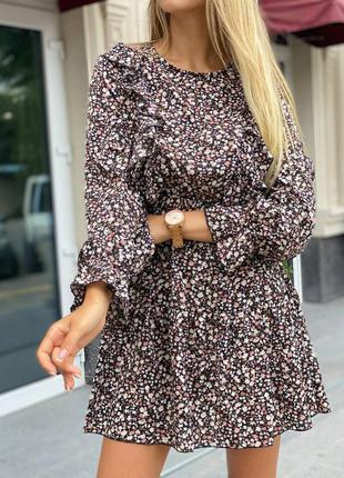 Женственное платье в цветочек с длинными рукавами ,цвета оливка и черный