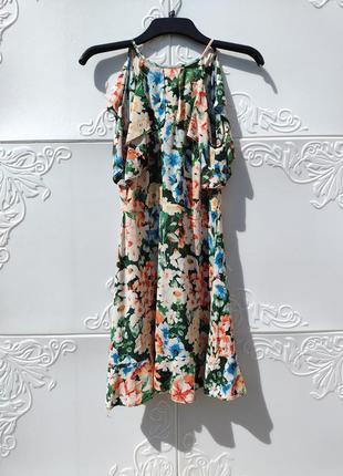 Красивое цветочное разноцветное летнее платье zara цветочный принт