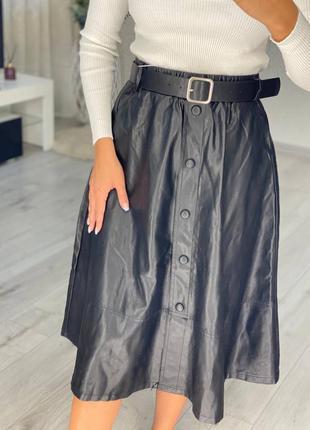 Женская юбка эко-кожа миди