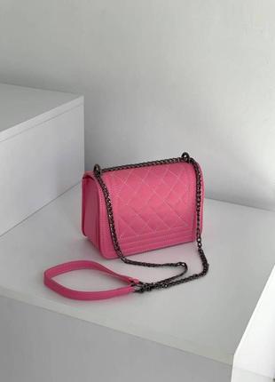 Маленькая сумка -клатч на цепочке, сумка кросс-боди розового цвета