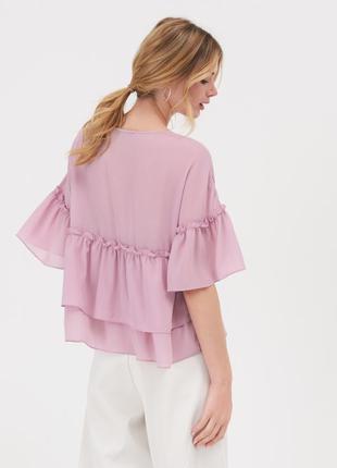 Новая тонкая широкая сиреневая лавандовая лиловая блузка оверсайз оборки xs s m l xl