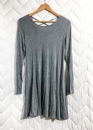 Вискоза короткое платье серое длинный рукав приталенное юбка солнце размер шнуровка на спине xl