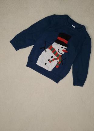 Новогодний свитерок со снеговиком на мальчика 3/4г