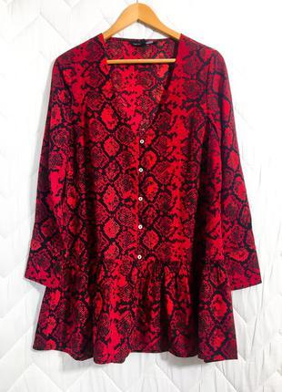 Короткое широкое оверсайз платье анималистичный змеиный красный черный принт длинный рукав s m