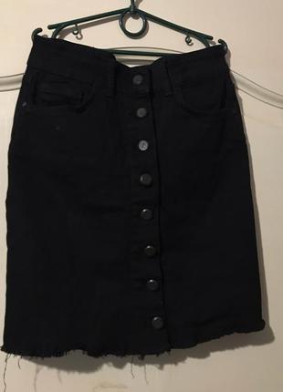 Юбка джинсовая с необработаным низом