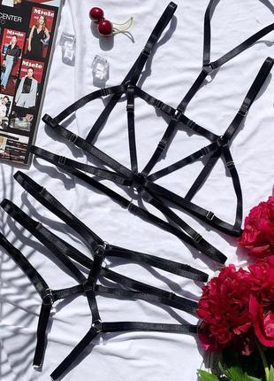 Портупеи, контурное белье, гартеры, стрепы, подвязки, комплект, чокер