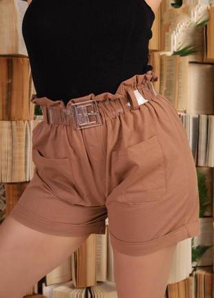 Хлопковые коттоновые шорты с прозрачным ремнем и подворотами