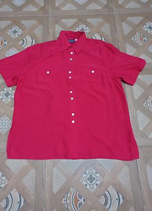 Рубашка шелк шовк silk seta 44 перламутр винтаж оверсайз over size